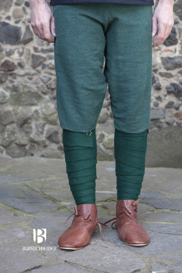 Green Wool Leg Wraps Aki by Burgschneider for Vikings