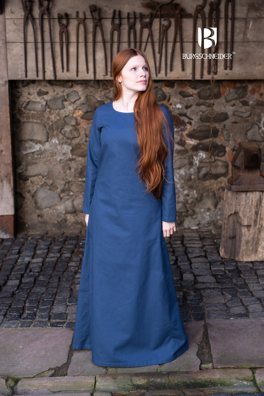 Waidblau From Burgschneider Medieval Undergarment Viking Dress Robe //Larp