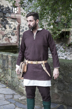 Brown Short Tunic Erik by Burgschneider